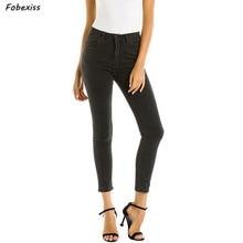 Skinny Jeans Women Elastic Stretch Cotton Black Jeans Zippers Pocket Push Up Denim Pants Mid Waist Pencil Pants Denim Jeans elastic waist pocket jeans