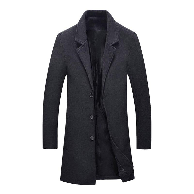 New Autumn Winter Wool Long Coat Men Warm Black Business Overcoat Mens Stylish Woolen Jacket Parka Men Coat Winter