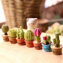 Hot Mini Artificial Fleshy Cactus Plant DIY Potted Micro Landscape Home Garden Decorative Miniature Figurines Free Ship