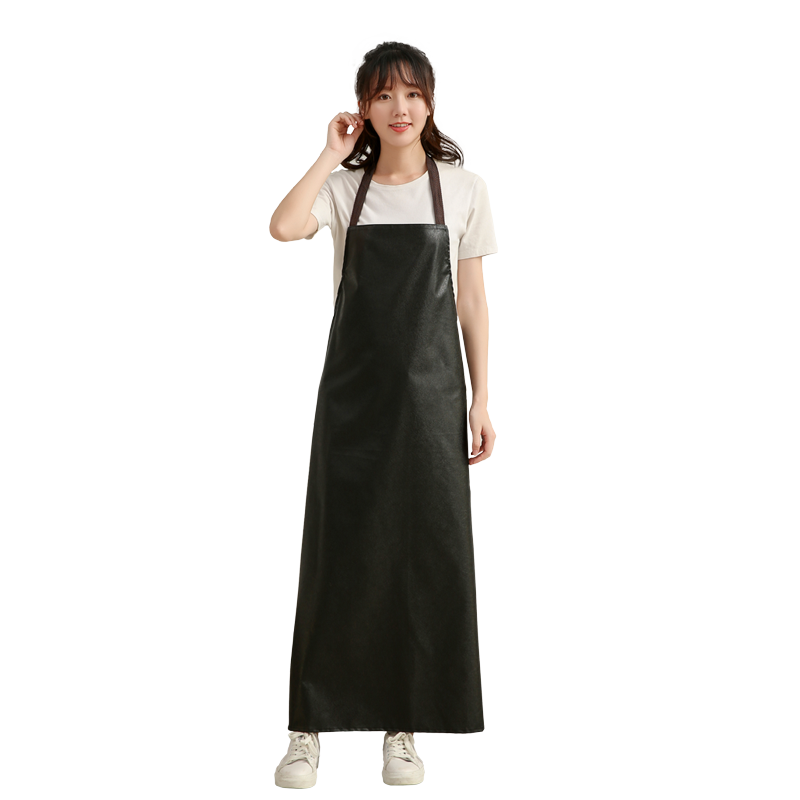 Mens Waterproof Faux Leather Extra Long Work Aprons Oil-proof Restaurant Cooking Kitchen Chef BBQ Apron for Women Black Coffee image