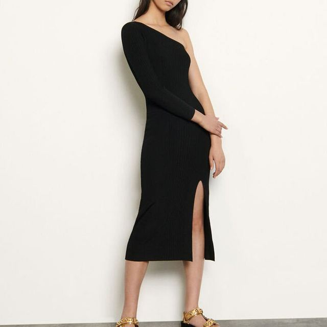 2020 Spring/summer New Strapless Dress with Slit Ribbed Sexy Waist and Slim Knit Dress Casual Dresses Black Dress  Women Dress 1