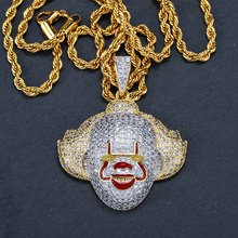 FDLK   Classic Clown Pendant With Tennis Chain Cubic Zirconia Men's Hip Hop Pendant Necklace Jewelry For Boy Party Gift