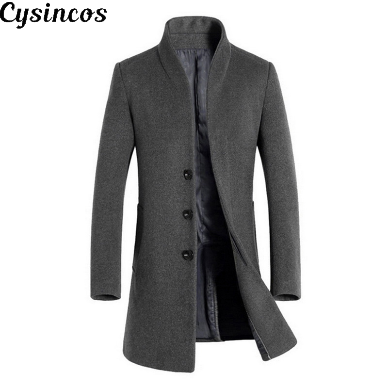 CYSINCOS 2019 Men Wool Thicken Coat Stand Collar Autumn Winter Woolen Solid Color Single Breasted Long Trench Men Blends