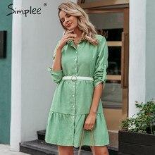 Simplee Herbst frauen hemd kleid A line revers feste weibliche beiläufige bluse kleid Winter langarm büro damen chic kurze kleid