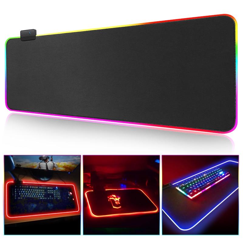 Gaming Mousepad Keyboard Mouse Pad RGB Colorful Razer Mouse Pads Gel Cushion Large Cushion Soft Surface Marvel Table Mat USB LED