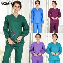 short/long sleeved Scrub set split brush uniform suit  overalls