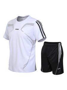 Shirt 2-T-Shirt-Shorts sportswear Stand-Collar Sports-Suit Fitness Large-Size Men's Fashion