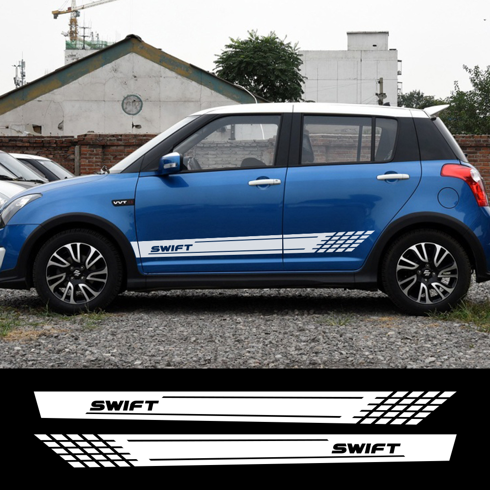 For Suzuki Swift Sport Wrap Racing Decals Car Door Side Long Skirt Stickers Auto Decor DIY Vinyl Film Car External Accessories