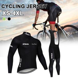 2020 MTB Bike Jersey Suit Cycling Strap Trousers Winter Thermal Fleece Long Sleeve Mountain Bike Road Bicycle Shirt Padded Pants