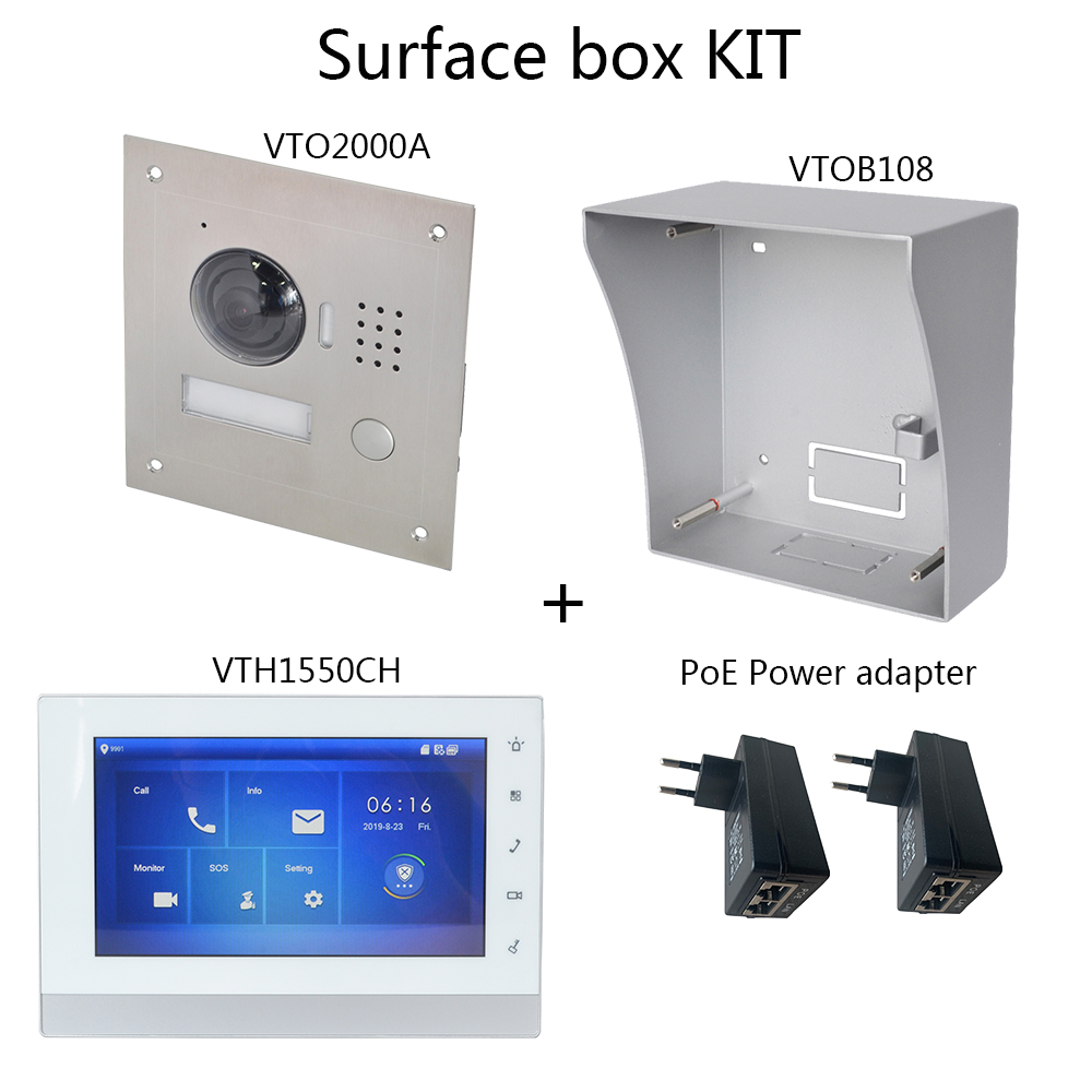 DH Logo Multi-Language Video Intercom KIT Includes VTO2000A Surface Box Or Flush Box, VTH1550CH,PoE Power Adapter