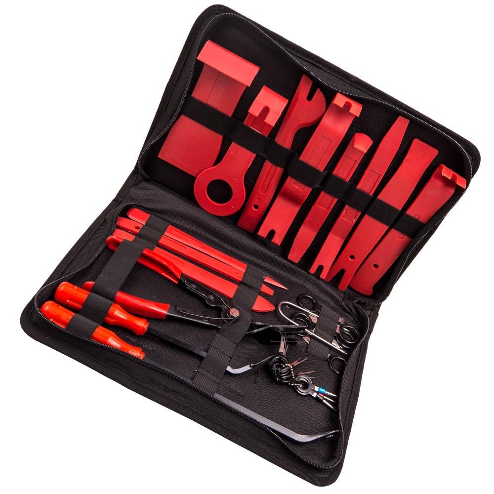 32Pcs Car Trim Removal Door Panel Hand Tools Kit Pry Tools Clip Pliers Auto Set