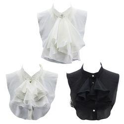 Women Vintage Palace Ruffles Bowknot Half Shirt Blouse Chiffon False Fake Collar 40JF