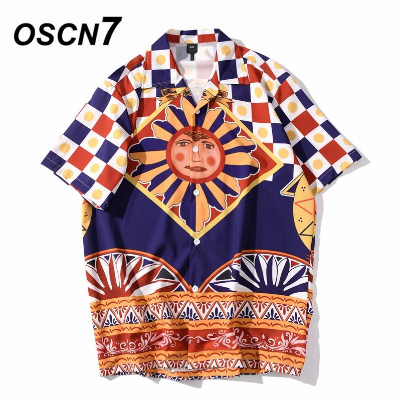 OSCN7 Casual Streetwear Beach Printed Short Sleeve Shirt Men 2020 Hawaii Oversize Fashion Harujuku Women Shirts XQ142