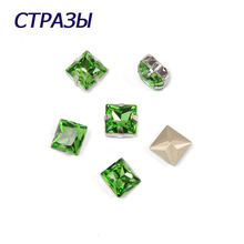 CTPA3bI 4447 Princess Square Peridot Charming Rhinestones Beads For Jewelry Making Glass Strass Needlework Accessories Crafts