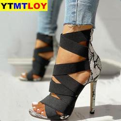 Sapatos de salto alto, calçado feminino de verão com strass, sapatos sexy de baile