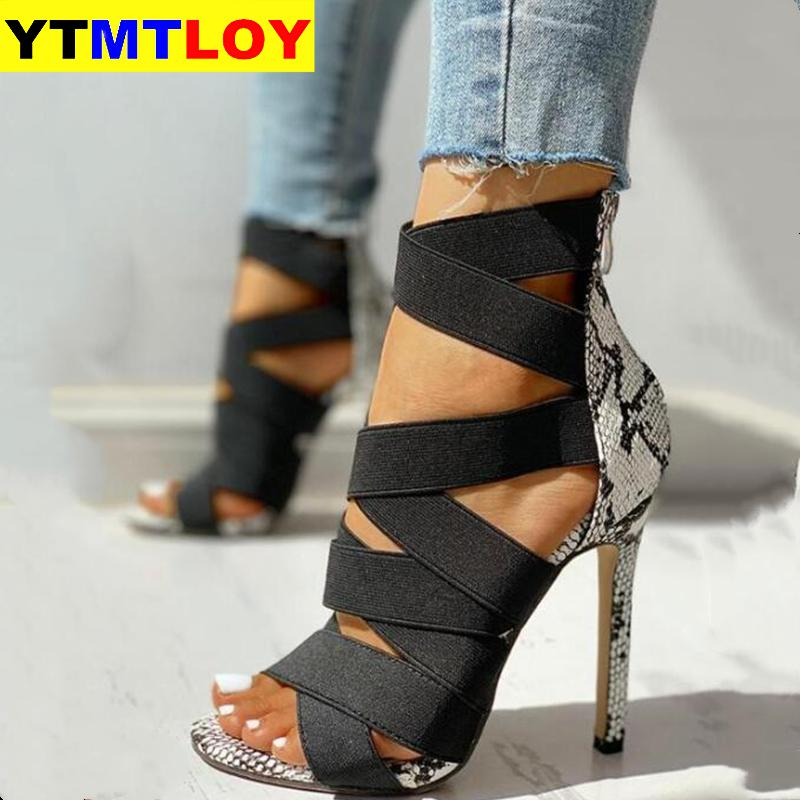 Snake Summer Shoes Woman Pumps High Thin Heels Pointed Toe Rhinestone Gladiator Pumps Party Sexy Shoes Prom Shoes