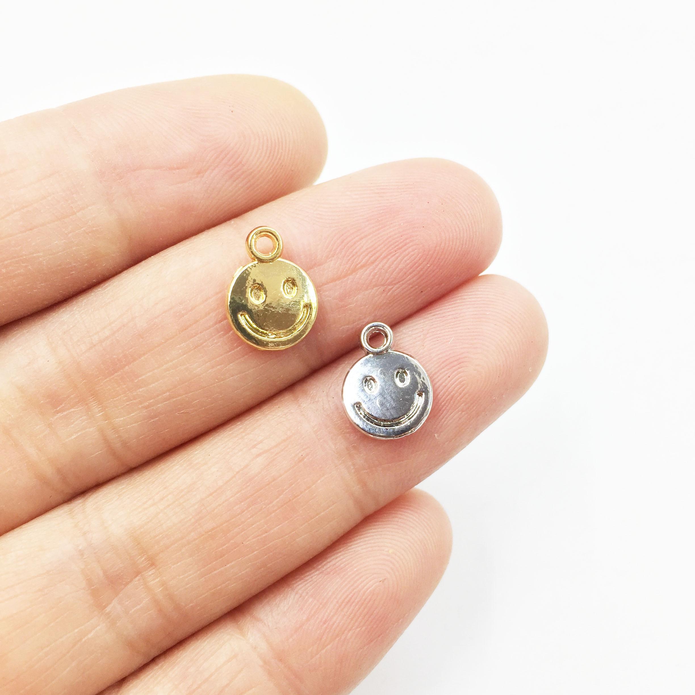 Eruifa 20 шт. 8 мм Мини голова улыбки подвеска ожерелье, серьги ювелирные изделия DIY ручной работы Золотой свинца/никеля