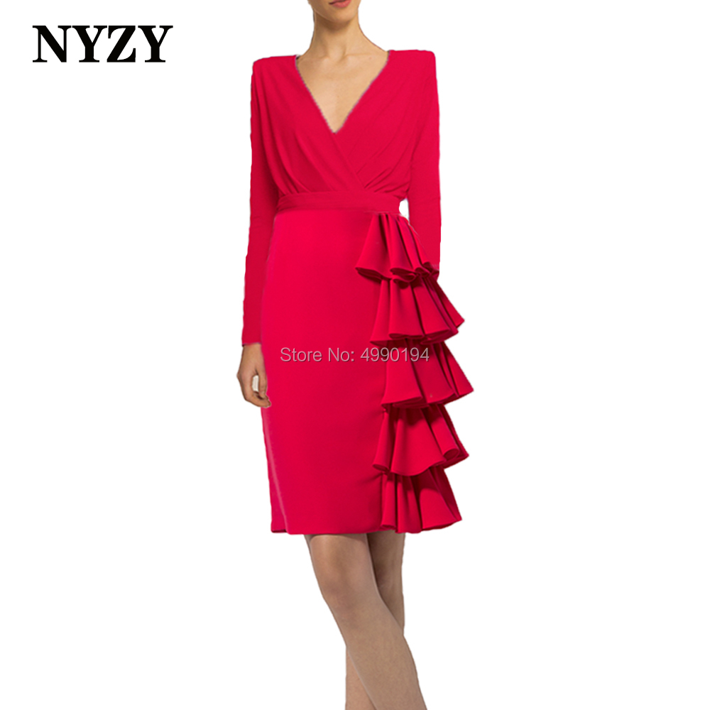 Long Sleeves Stretch Jersey Red Mother of the Bride Dresses 2020 NYZY M271 Formal Evening Gown