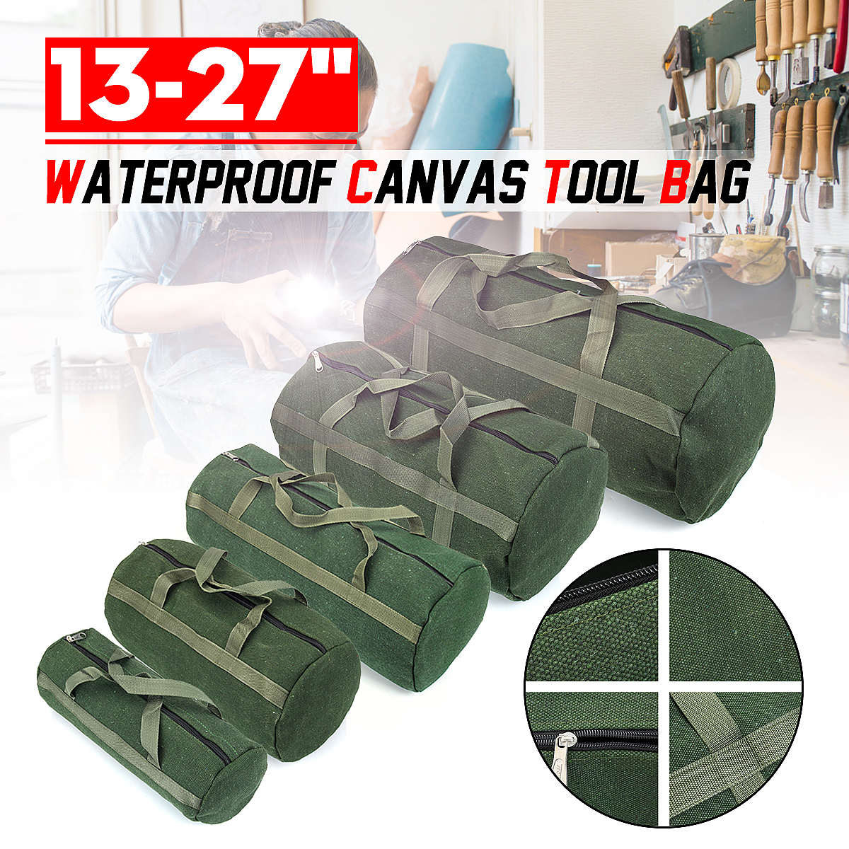 Multifunctional ThickCanvas Tool Bag Waterproof Wearable Storage Bag Woodworking Water And Electricity Auto Repair Manual Box