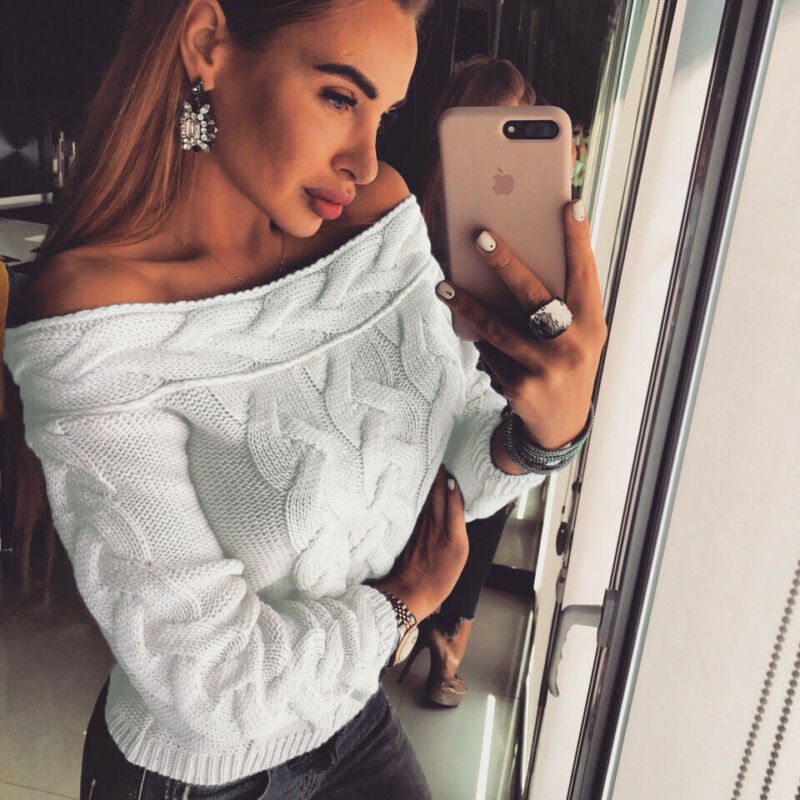 2019 Autumn Winter Women Knitted Off Shoulder Sweater Casual Soft Loose Jumper Fashion Slim Femme Elasticity Pullovers Tops