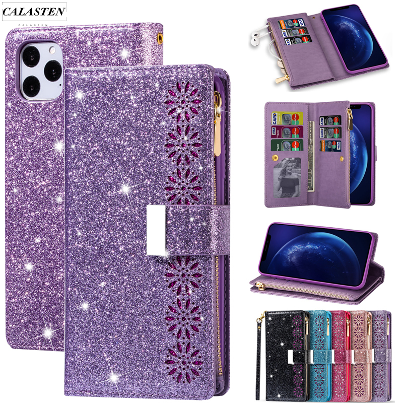 Glitter Case For iPhone iPhone 11 Pro Max XR XS SE 2020 Bling Leather Wallet Phone Cards Stand Flip Cover For 6 6s 7 8 Plus Capa(China)