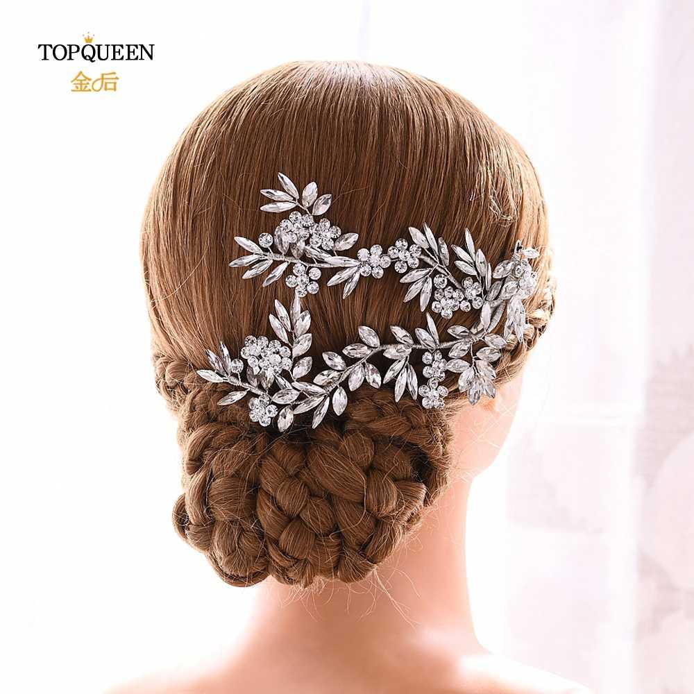 YouLaPan งานแต่งงาน Barrette งานแต่งงานอุปกรณ์เสริมผมเจ้าสาว Hairpins เงินผมงานแต่งงานคลิปผมสำหรับผู้หญิง HP271