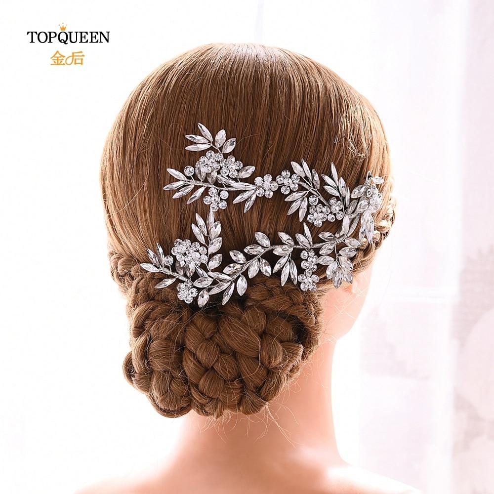 YouLaPan Wedding Barrette Wedding Hair Accessories Bridal Hairpins Luxury Silver Hair Band Wedding Hair Clips For Women HP271
