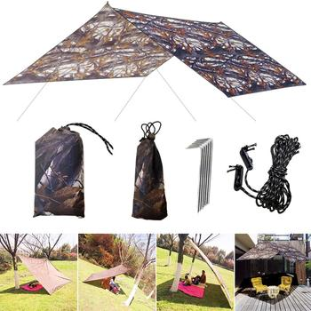 210T 3x3m Camouflage Sun Shelter Awning Tent Tarp Outdoor Camping Rain Fly Anti UV Beach Tent Shade Camping Sunshade Canopy portable small awning summer outdoor beach face tent umbrellas face tent lightweight sun shelter canopy uv protection 2020 new