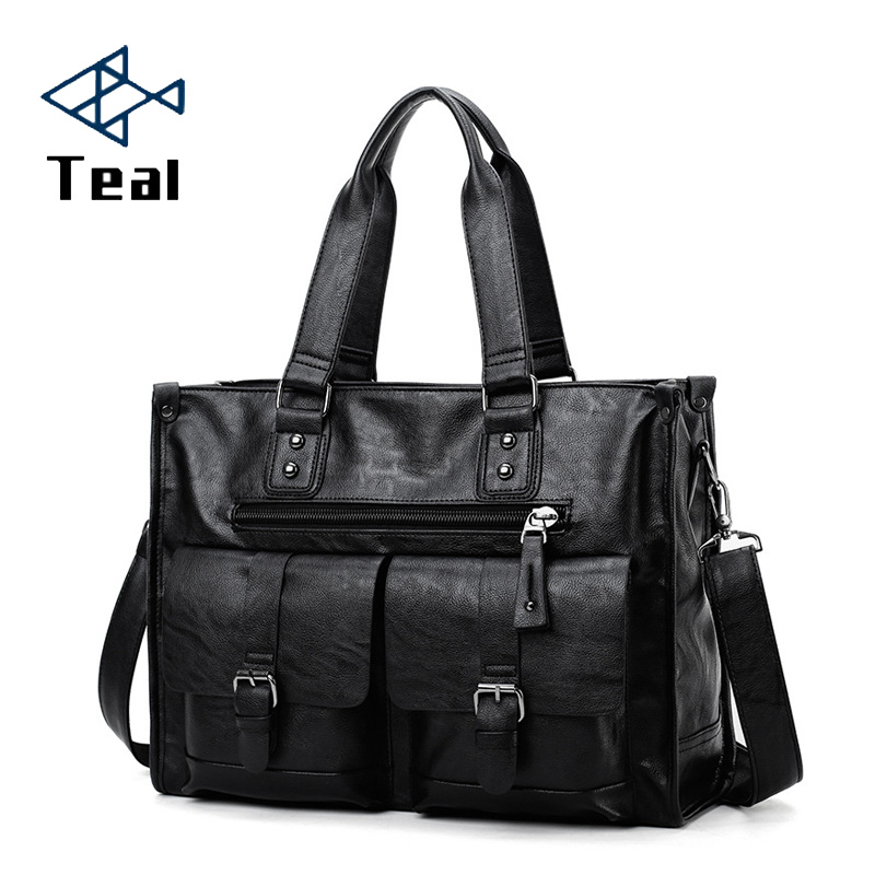 2020 New Casual Men's Briefcase Crossbody Retro Business Men's Bag Sac A Main Bag Business Large Capacity Handbags Black
