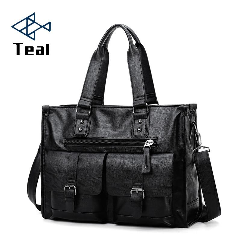 2020 New Casual Men's Briefcase Crossbody Retro Business Men's Bag Sac A Main Bag Business Large Capacity Handbags Black
