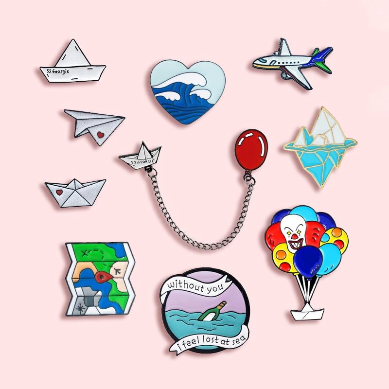 Оригинальная бумага для лодки, бумага, плоская металлическая брошь с эмалью, Love Wave, айсберг, значок-бутылка, Pin, милые трендовые аксессуары для ювелирных изделий