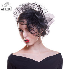 WELROG Mesh Topper Großen Bogen Fascinators Solid Black Hut Stirnband Haar Clip Für Frauen Cocktail Tee Party Hut Wilden Haar zubehör(China)