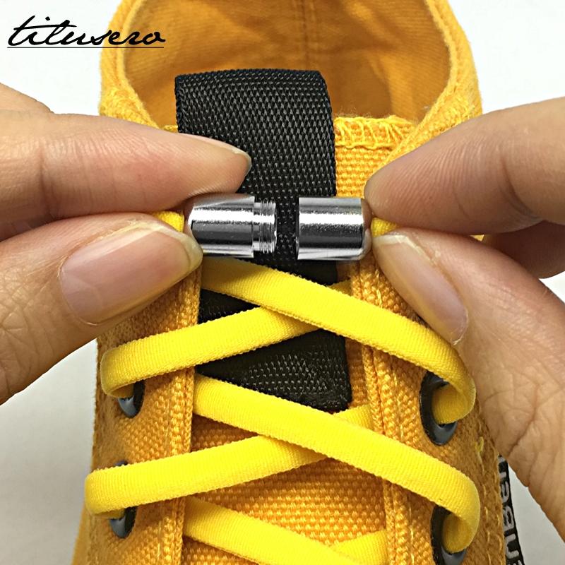 Third Version Elastic No Tie Shoelaces Metal Lock Shoe Laces For Kids Adult Sneakers Quick Shoelaces Semicircle Shoestrings F089