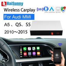 Bezprzewodowy Carplay dla Audi A5 Q5 S5 2010 2011 2012 2013 2014 2015 MMI wsparcie nawigacja GPS kamera cofania inteligentne Multimedia modernizacja tanie tanio HaiSunny CN (pochodzenie) Double Din 6 5 256G Windows ce Dvd-r rw Dvd-ram Video cd Jpeg Aluminum 1024*600 Bluetooth Wbudowany gps