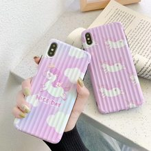 For iPhone 7 Plus X XS Phone Case Purple Cartoon Cute Unicorn Cover For iPhone Xs Max XR 8 7 6 6S Plus TPU Soft Silicone Case(China)