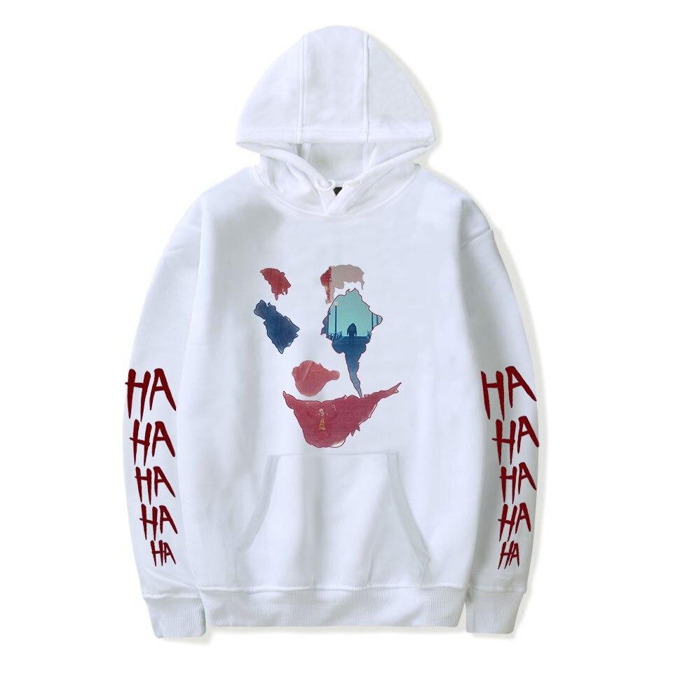 Joker Hoodie Men's White Cotton Spring Autumn Male Hoodies Sweatshirts Printed Casual Harajuku Hoodie