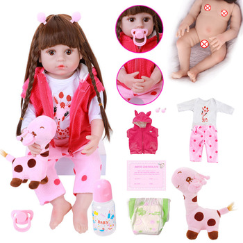 Baby Reborn Doll 56cm Silicone Reborn Baby Doll Adorable Lifelike Toddler Bonecas With Pretty Braid Hair Dolls Giraffe Stuffed doll alive reborn doll with soft real gentle touch 2018 new design free shipping lifelike wholesale baby gift dolls