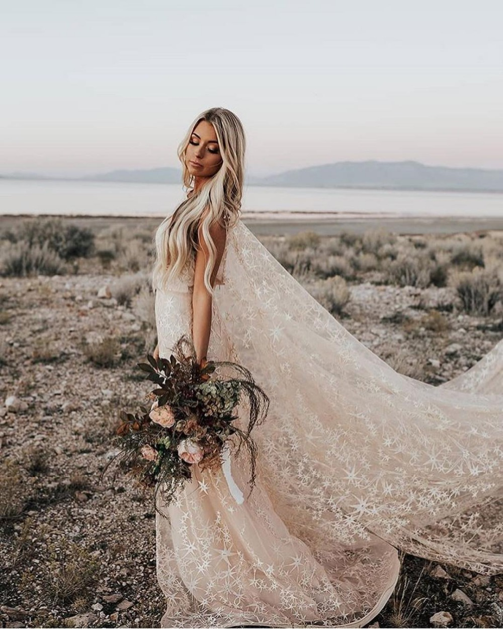 Swooning Dazzling Wedding Dresses Awesome Floral Print Star Bridal Gowns With Cape Bohemian Country Vestido De Noiva