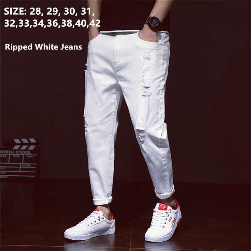 Blanco Jeans Hombres Harem Rotos Jean Denim Apenado Pantalones De Primavera Verano Para Hombre 2020 De Talla Grande 38 40 42 Vaquero Pantalones Pantalones Vaqueros Aliexpress