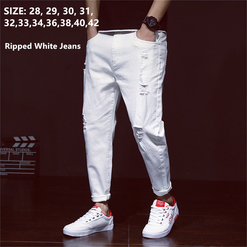 White Jeans Men Ripped Harem Jean Denim Distressed Mens Pants Spring Summer For Man 2020 Plus Size 38 40 42 Big Cowboy Trousers