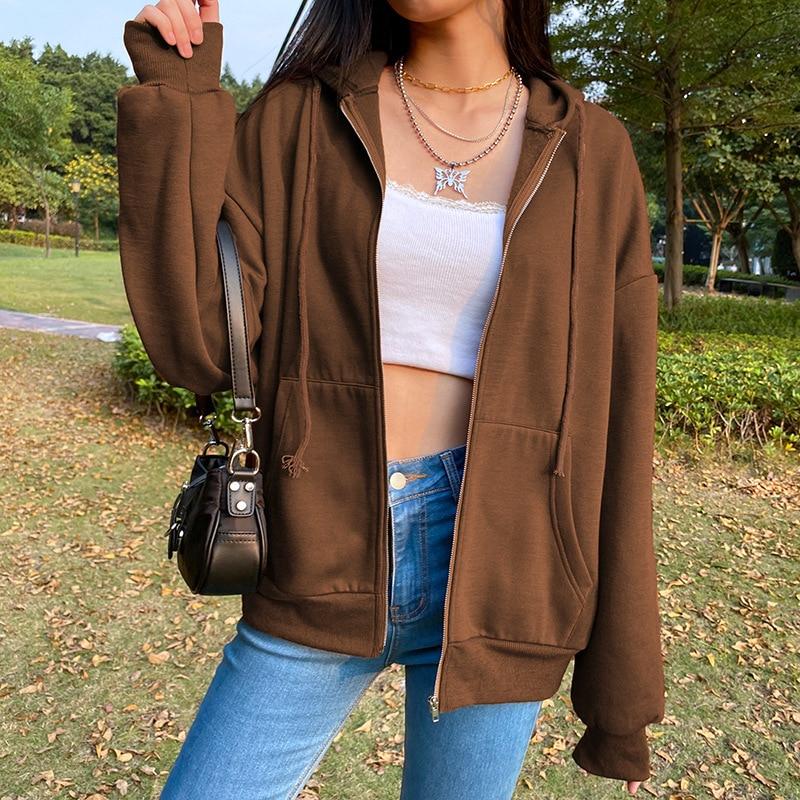 BiggOrange негабаритных толстовки для женщин коричневого цвета на молнии Толстовка летняя куртка одежда размера плюс в винтажном стиле; С длинн...