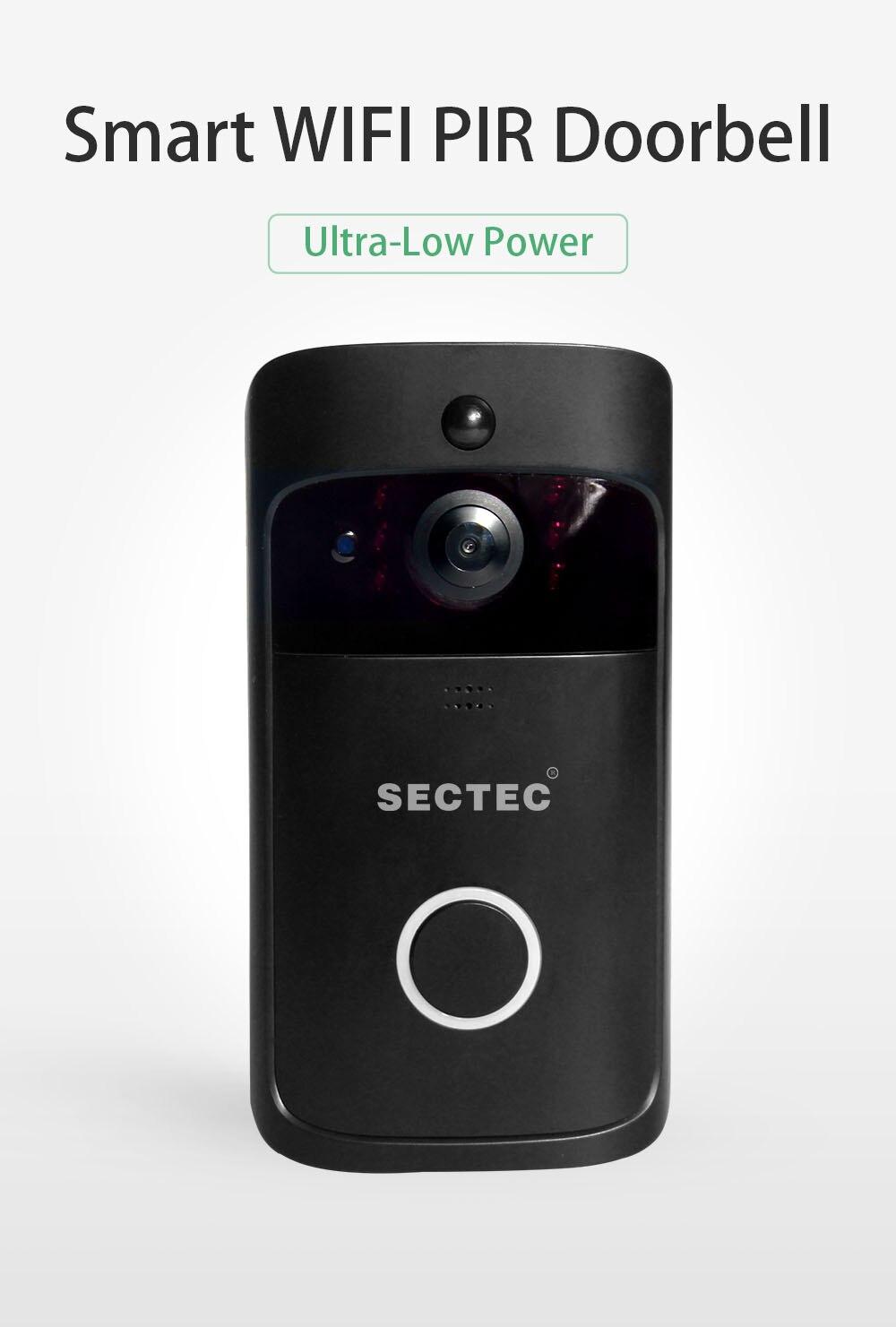 INQMEGA Wifi vidéo sonnette sans fil caméra de sécurité téléphone maison porte cloche alarme télécommande téléphone Vision nocturne en toute sécurité - 2