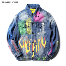 New Mens Ripped Denim Jacket Punk Autumn Winter Jacket Hip Hop Printed Patchwork Hole Jean Jacket Men Denim Jackets Dropshipping