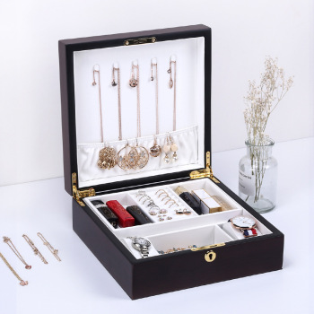 Luxury Large Wooden Square Jewelry Box Simple layout 2 Layers Makeup Jewelry Organizer Watch Ring necklace Jewelry Storage Box wooden storage box for jewelry organizer