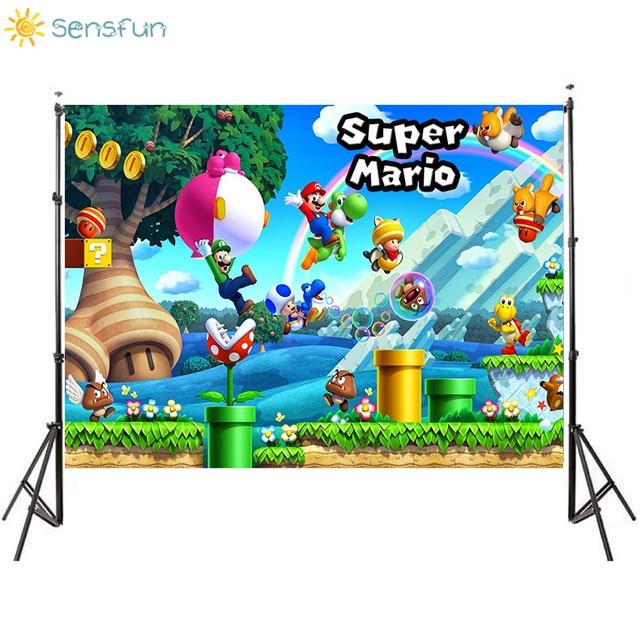 Sensfun Custom Super Marios Photography Backdrops Kids Birthday Party Photo Background High Quality Vinyl Background Photocall