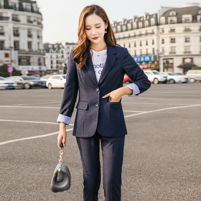 Professional women's suit suit pants suit High quality single-breasted striped sleeves slim fit jacket Winter women's two-piece