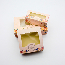 50 PCS Gift Box Wedding Candy Cookies Cupcake Paper Packaging With Window Rose Boxes Party Favor Supplies