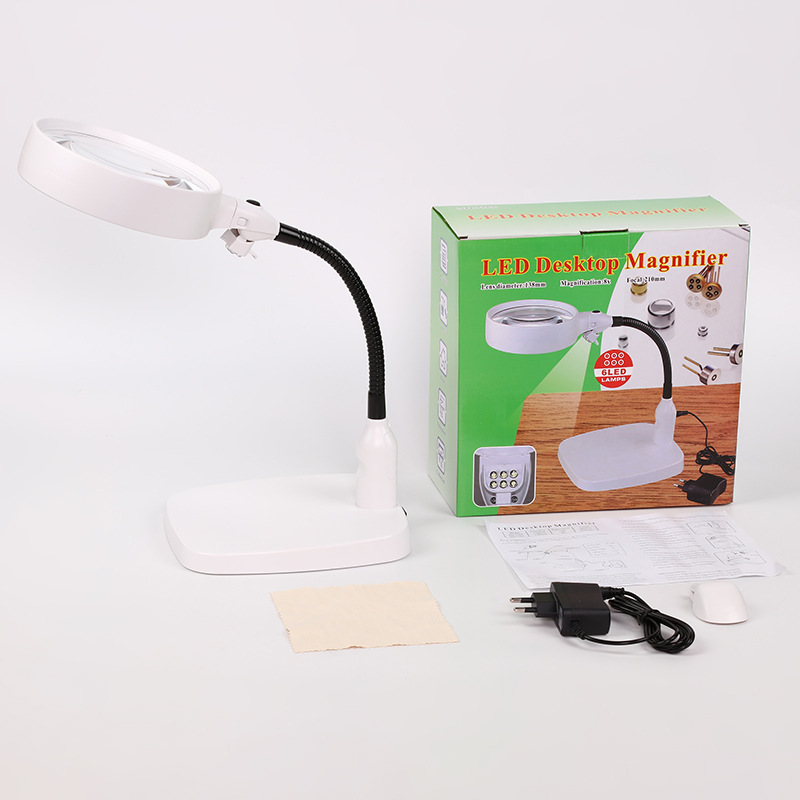 138mm Double Large Acrylic Lens Table Stand Lighted Reading Magnifier Repairing Magnifying Glass with Lights 8x Loupe 110v 240v Magnifiers     - title=