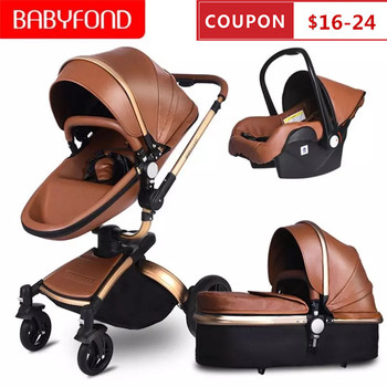 Babyfond High Landscape Stroller Leather Carriage Luxury 3 in 1 Baby Stroller Two Way Kinderwagen Newborn Pram Send Free Gifts image