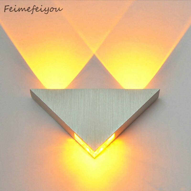 Modern led duvar lambası 3W alüminyum gövde üçgen duvar lambası yatak odası ev aydınlatma armatürü banyo aydınlatma armatürü duvar aplik